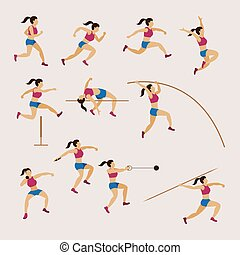 Sports Athletes, Track and Field, Women Set - Athletics,...