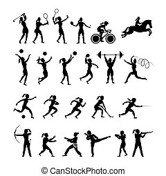 Sports Athletes, Women Symbol Silhouette Set - Athletics,...