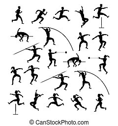 Sports Athletes, Track and Field, Silhouette Set -...