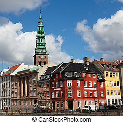 Copenhagen, Denmark - Nikolaj Kirke Nikolaj Church and old...