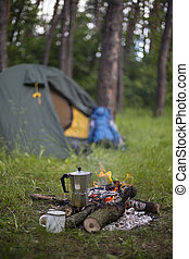 Camping in the woods. - Camping in the woods on the banks of...