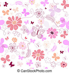 Seamless pink floral pattern - Seamless floral pattern with...
