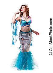 Carnival dancer woman dressed as a mermaid posing, isolated...