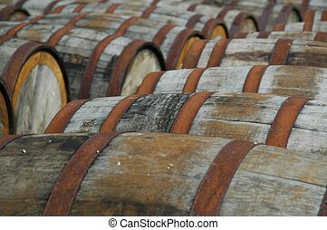 Whisky barrels in a distillery