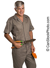 A gardener with tools, isolated on white Background...