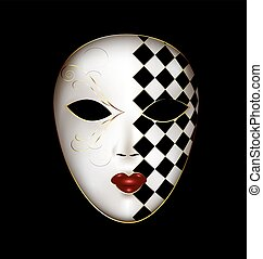 golden white mask - dark background and the large...