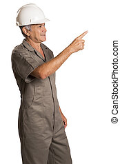 Full length portrait of young male construction worker.