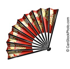 red fan with golden grape
