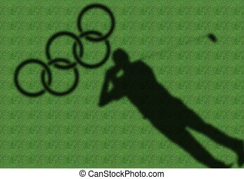 shadow of golfer in green fairway - a shadow of golfer in a...
