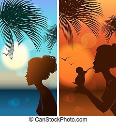 Set of silhouetts of the girl. Summer tropical sea, palm...