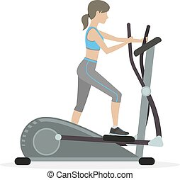 Fitness girl on the elliptical trainer - Fitness girl with...
