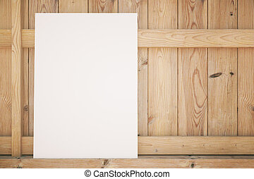 Blank poster on wood
