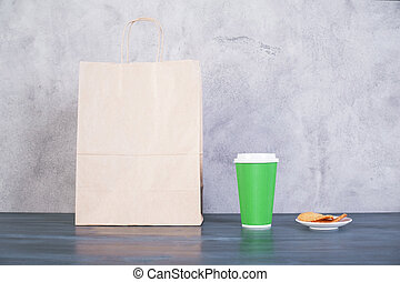 Shopping bag, cookies and coffee - Front view of blank take...