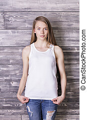 Beautiful girl in tank top - Beautiful european girl wearing...