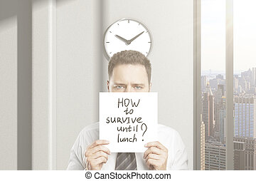 How to survive until lunch - Frowny businessman doesnt know...