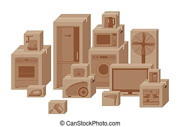 Household appliances in boxes Vector flat illustration