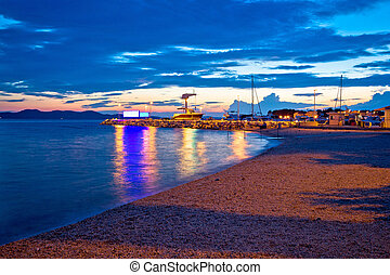 Zadar beach and marina evening view, Dalmatia, Croatia