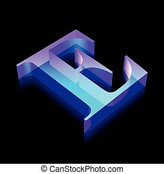 3d neon glowing character E made of glass, vector illustration.