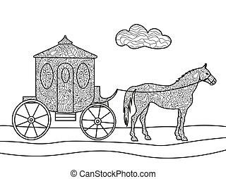 carruaje, con, caballo, colorido, libro, vector,