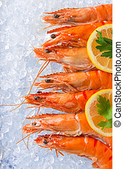 Fresh prawns on crushed ice - Fresh prawns on crushed ice,...