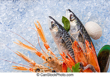 Fresh seafood on crushed ice - Fresh seafood on crushed ice,...