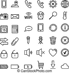 Set of vector web icons Mobile Phones