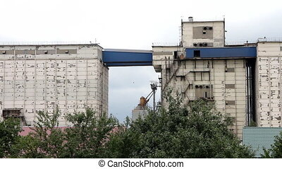 Silo at southern harvest land - A large granary in Crimea
