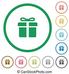 Gift box outlined flat icons - Set of Gift box color round...