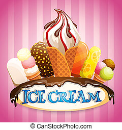 Ice cream poster - Highly detailed ice cream set with...
