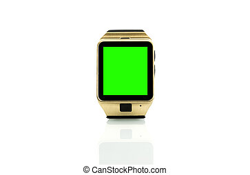 smartwatch isolated on white background with chroma key...