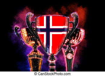 Trophy cup textured with flag of Norway Digital illustration...