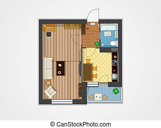 apartment plan top view - Paln of the apartment with...