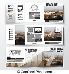 Set of tri-fold brochures, square design templates Polygonal...