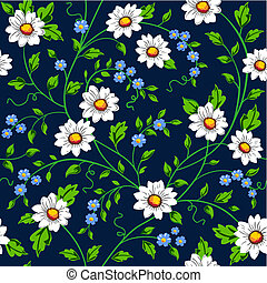Vector daisy seamless background - Elegant floral wallpaper,...