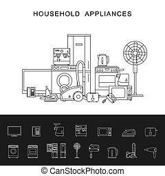 Household appliance line illustration - Household appliance...