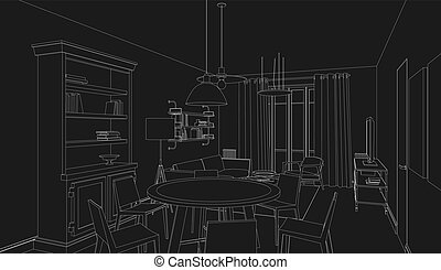 Line drawing of the interior