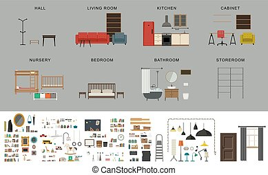 Furniture interior elements. Vector icons set of furniture...