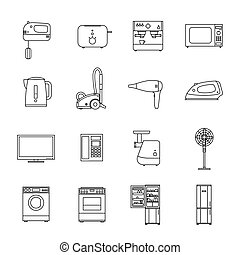 Home household appliances Vector line icons set