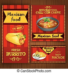 Mexican traditional food cafe restaurant and bar flat bright...