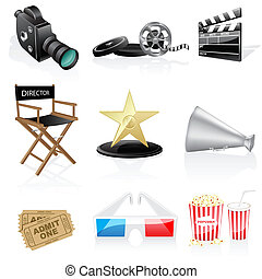 Cinema icons isolated on white background