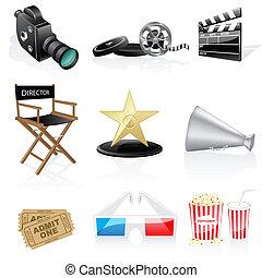 Cinema icons isolated on white background