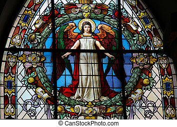 Angel - Stained glass in German Church in Stockholm, more...