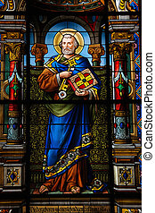 Saint Peter, stained glass in Stockholm church made in 1901