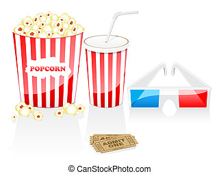 Cinema icons - Cinema elements isolated on white. Cinema...