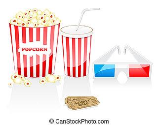 Cinema icons - Cinema elements isolated on white. Cinema...