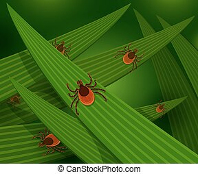Mites in the tall green grass flat vector illustration,...