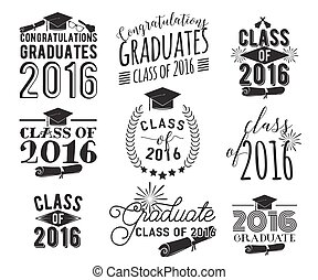 Graduation wishes overlays, lettering labels design set....