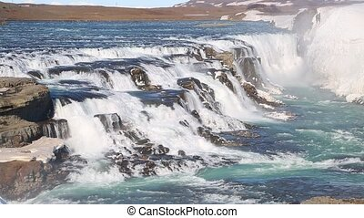 Waterfall in Iceland - Gullfoss waterfall top in Iceland