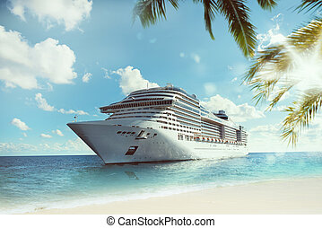 Tropical cruise voyage - Cruising at sea near a tropical...