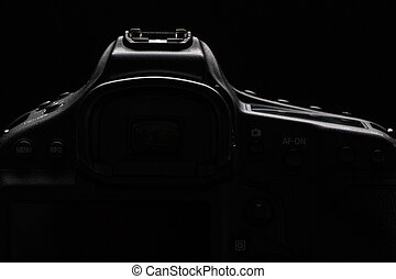 Professional modern DSLR camera low key stock photoimage -...